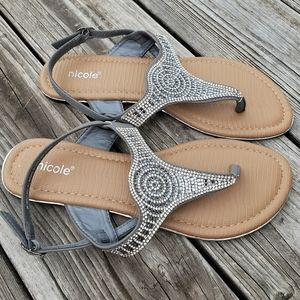 Nicole Crystals Silver Flat sandals